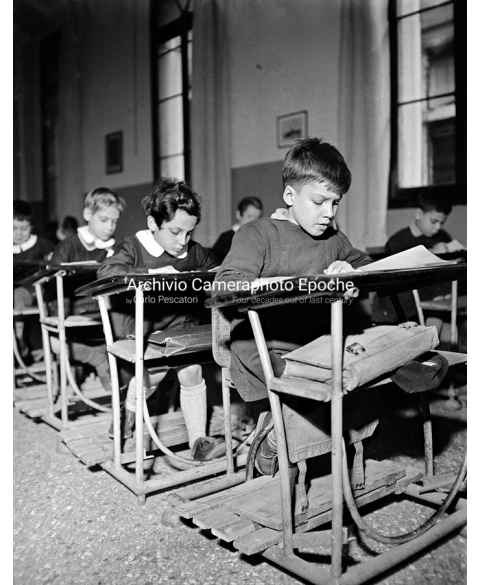 Italian Boys' School - Row Of Desks