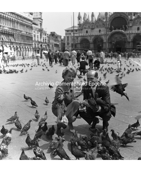 David E. Bright - Posing With Pigeons