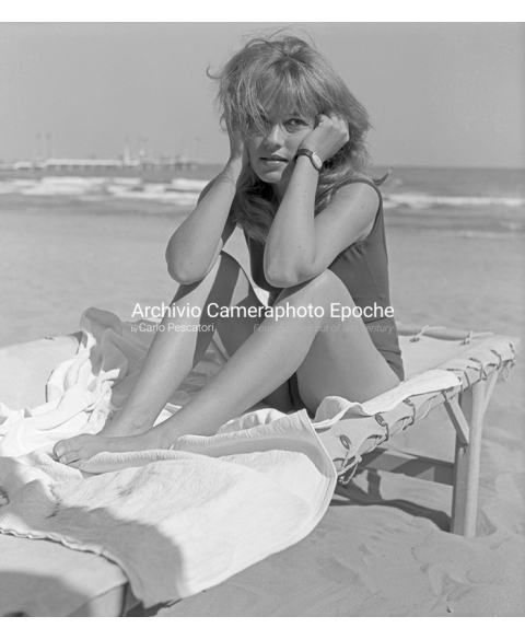 Jeanne Moreau - Sittting on a Sunbed